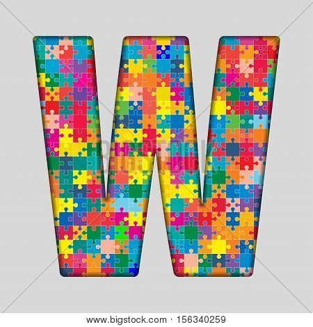 Vector Puzzle Jigsaw Letter - W. Gigsaw made of Colored Puzzle Piece - Vector Illustration. Puzzle Font. Creative Toy Alphabet. Web Design and Graphic Vector.