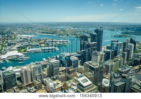 SIDNEY - AUSTRALIA NOVEMBER 2, 2016: : Aerial view of Darling Harbour, one of the city's largest dining, shopping and entertainment precincts and a popular destination for tourists.