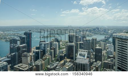 SIDNEY - AUSTRALIA NOVEMBER 2, 2016: : Aerial view of the downtown area and Darling Harbour, one of the city's largest dining, shopping and entertainment precincts and a popular destination for tourists.