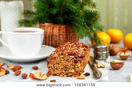 Traditional Christmas Fruit Cake With Nuts, Raisins, Dried Fruits And Spices. Christmas Treat. Selec