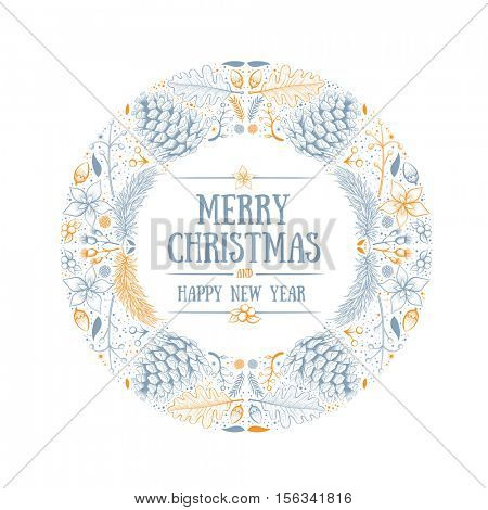 Vector round Christmas frame with hand drawn natural winter elements. Christmas greeting card design. Global two colors.