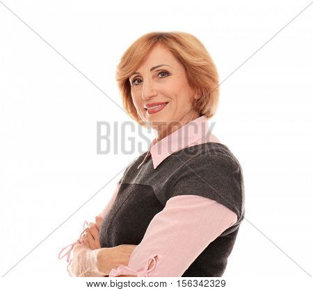Portrait of successful senior woman isolated on white
