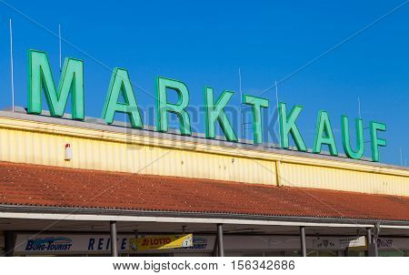 BURG / GERMANY - NOVEMBER 13 2016: Marktkauf sign a discount supermarket chain based in Germany. Marktkauf GmbH is one of the largest German trading companies and part of the Edeka Group.