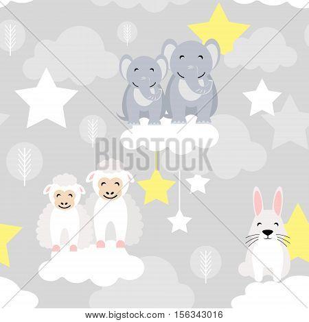 Cute animal kid vector seamless pattern with elephant, bunny, ewe lamb