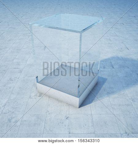 Empty glass box on concrete floor. 3D illustration.