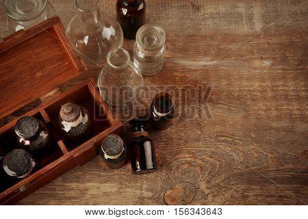 Vintage glass bottles, closeup