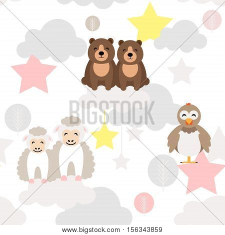 Cute animal kid vector seamless pattern with bear, chick, ewe lamb