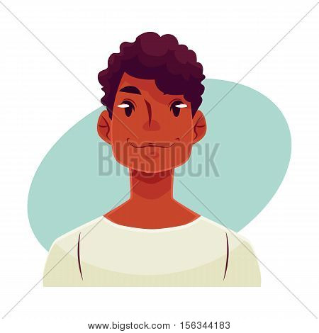 Young african man face, neutral facial expression, cartoon vector illustrations isolated on blue background. Handsome boy emoji feeling glad, serene, relaxed, delighted. Neutral face expression