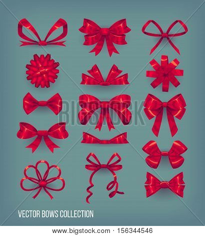 Set of red cartoon style bow knots and tied ribbons. Vector decoration elements collection
