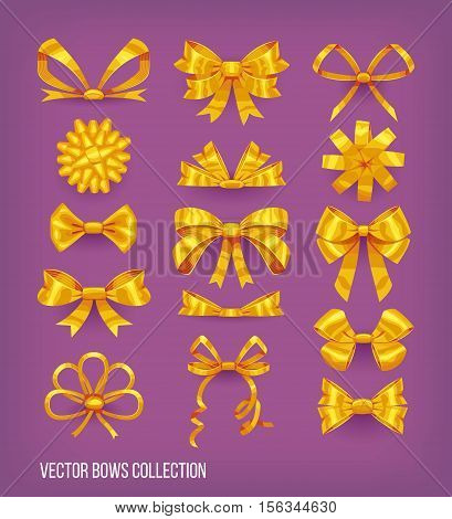 Set of golden yellow cartoon style bow knots and tied ribbons. Vector decoration elements collection