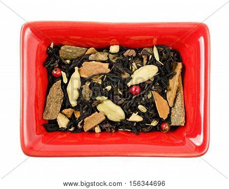 Dry Tea in a bowl. Isolated white background