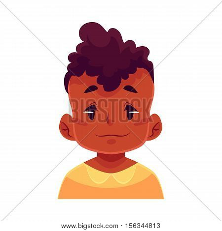 Little boy face, neutral facial expression, cartoon vector illustrations isolated on white background. black male kid emoji face feeling glad, serene, relaxed, delighted. Neutral face expression