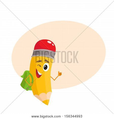 Yellow cartoon pencil with backpack winking and giving okay, vector illustration isolated on beige background for the text. Humanized funny pencil with a green backpack winks and gives OK