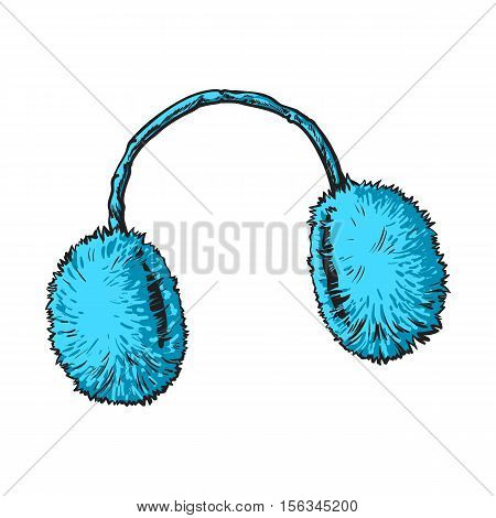 Bright blue fluffy fur ear muffs, sketch style vector illustrations isolated on white background. Hand drawn fluffy ear warmers, ear muffs made of fur, winter accessory