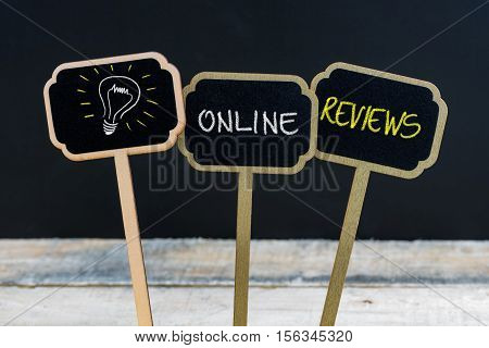 Concept Message Online Reviews And Light Bulb As Symbol For Idea