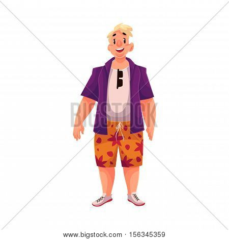 Young, happy fat man in casual clothing on vacation, cartoon vector illustration isolated on white background. Overweight, fat man enjoying life and having fun on holidays