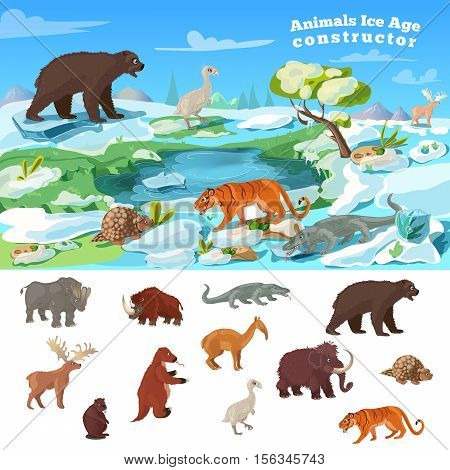 Animals ice age concept with wildlife design and set of beasts of prehistoric period isolated vector illustration