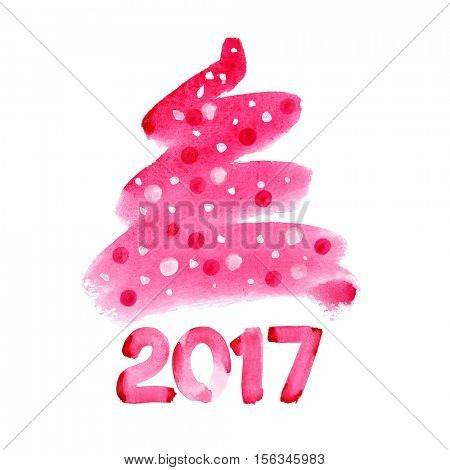 Happy new year 2017 - Red watercolor Christmas tree isolated over the white background