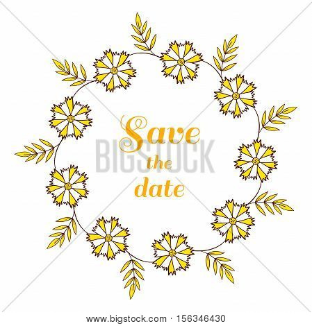 Wreath made from yellow flowers. Can be used for design of wedding invitation. Vector illustration.