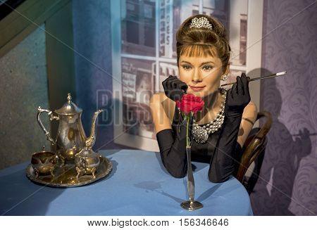 London, the UK-May 2016: Audrey Hepbern wax figure in Madame Tussaud's  museum