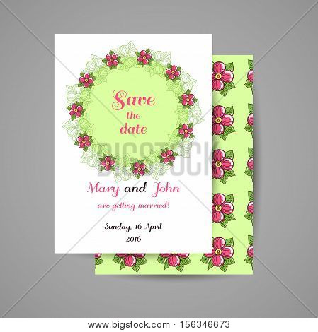 Wedding invitation with hand drawn pink flowers on green background. Vector illustration.