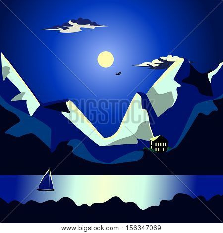 Night seascape. Moon and clouds on the dark blue sky. The moon illuminates the tops of the mountains. Dark Sea. On the water, a brilliant moonlit path. The yacht with a triangular sail.