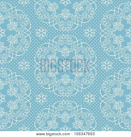 Seamless Pattern Snowflakes And Polka Dots On Blue Background Vector. Christmas Lace Fabric Or Wrapp