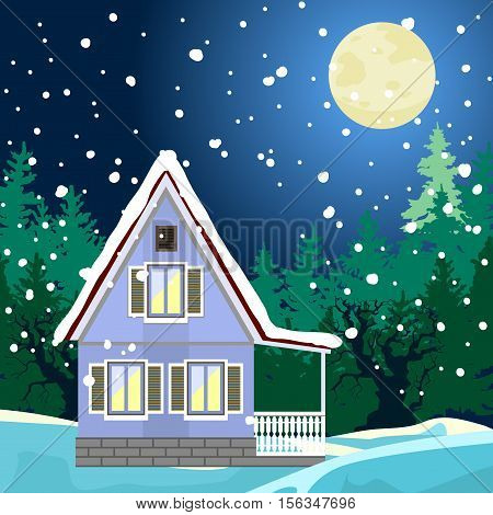 Idyllic winter night landscape. House on the edge of the forest. The light in the windows. In the distance a dark forest silhouettes of trees. A full moon. There is a soft snow. New Year or Christmas card.