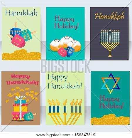 Hanukkah jewish holiday cards traditional religious set vector. Jewish cards and invitation hanukkah celebration flat icons set isolated vector. Jewish hanukkah card church traditional religious.