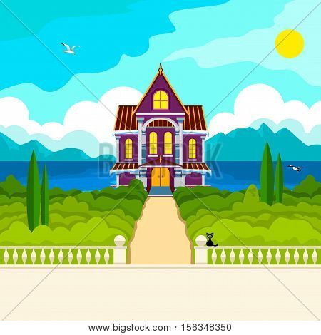 Southern landscape. The stone parapet and balustrade railings. Figured columns balustrades. Yellow path leads to a beautiful house with columns. Green trees and cypresses. In the distance the sea mountains and clouds. Flying seagulls.