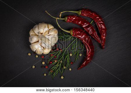 Spices, Pepper Mix, Chili Pepper, Garlic, Dill