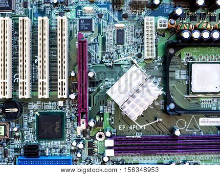 GOMEL, BELARUS - JULY 13, 2016. Motherboard EPoX EP-4PLAI. EPoX was a manufacturer of motherboards, video cards and communication products.