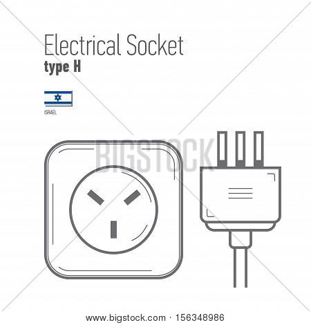 Switches and sockets set. Type H. AC power sockets realistic illustration. Different type power socket set vector isolated icon illustration for different country plugs.