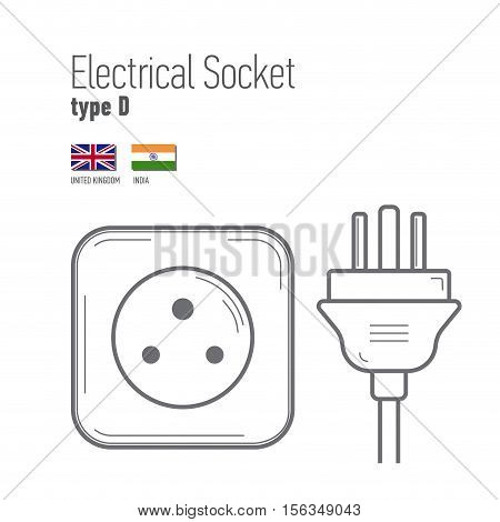Switches and sockets set. Type D. AC power sockets realistic illustration. Different type power socket set vector isolated icon illustration for different country plugs.
