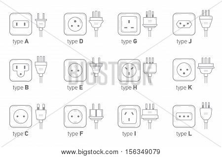 Electric outlet illustration on white background. Different type power socket set vector isolated icon illustration for different country plugs. Power socket - World standards icons set.