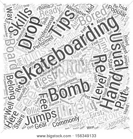 skateboarding trick tip word cloud concept text background
