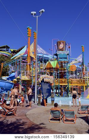 Aquatica waterpark Orlando Florida USA - October 23 2016: Tourists in Walkabout Waters adventure play area in Aquatica water park