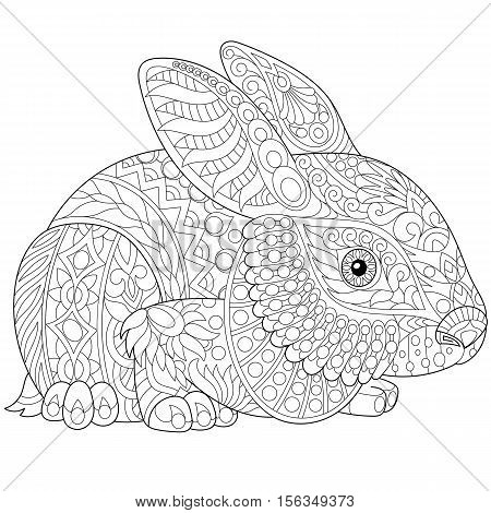 Stylized rabbit (bunny hare) isolated on white background. Freehand sketch for adult anti stress coloring book page with doodle and zentangle elements.