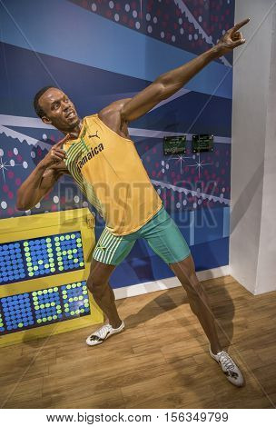 London, the UK-May 2016: Usain Bolt wax figure in Madame Tussaud's  museum