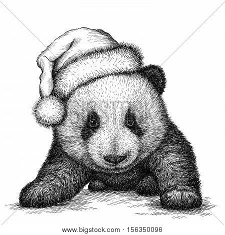 panda, black and white engrave. Christmas hat.