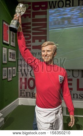 London, the UK-May 2016: Bobby Moore wax figure in Madame Tussaud's  museum