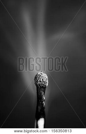 Smoke from burnt match isolated on black background macro image