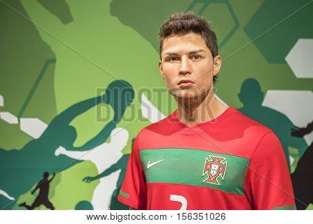 London, the UK-May 2016: Cristiano Ronaldo wax figure in Madame Tussaud's  museum