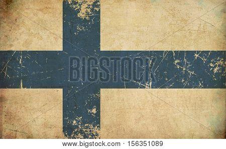 Finnish Flag Flat Aged