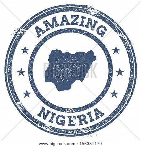 Vintage Amazing Nigeria Travel Stamp With Map Outline. Nigeria Travel Grunge Round Sticker.