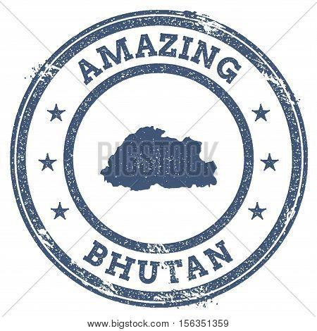 Vintage Amazing Bhutan Travel Stamp With Map Outline. Bhutan Travel Grunge Round Sticker.