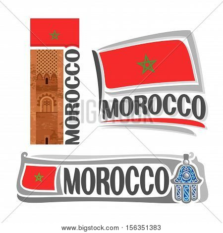 Vector logo Morocco, 3 isolated images: ancient landmark Hassan tower in Rabat on background national state flag, symbol kingdom of morocco architecture, moroccan ensign flags, hand of Fatima amulet.