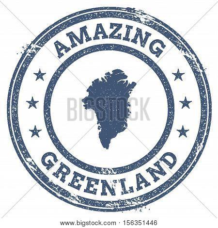 Vintage Amazing Greenland Travel Stamp With Map Outline. Greenland Travel Grunge Round Sticker.