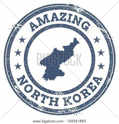 Vintage Amazing Korea, Democratic People's Republic Of Travel Stamp With Map Outline. Korea, Democra