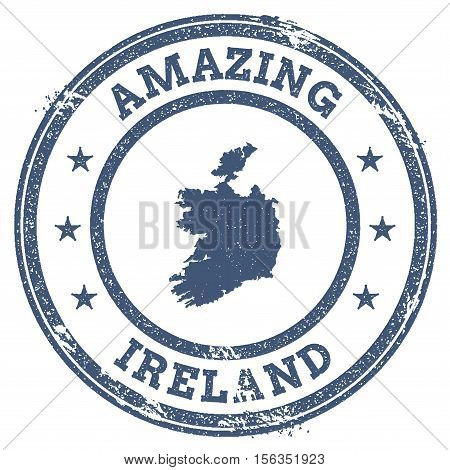 Vintage Amazing Ireland Travel Stamp With Map Outline. Ireland Travel Grunge Round Sticker.
